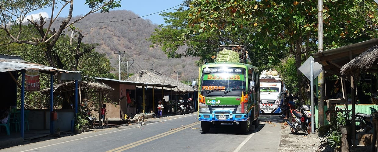 Timor-Leste: Bus, Transportation, Vehicle, Flora, Jar, Plant, Potted Plant, Pottery, Vase, Building, Countryside, Nature, Outdoors, Rural, Shelter, Canopy, Cable Car, Streetcar, Tram, Trolley, Architecture, Shrine, Temple, Worship, Alley, Alleyway, City, Road, Street, Town, Urban, Backyard, Yard, Forest, Land, Rainforest, Tree, Vegetation, Arbour, Garden, Gazebo