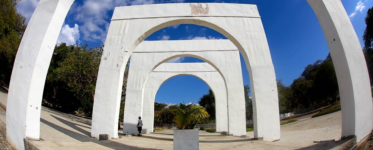 Timor-Leste: Arch, Arched, Architecture, Building, Fence, Flora, Hedge, Plant, Conifer, Tree, Yew, Moss, Arecaceae, Palm Tree