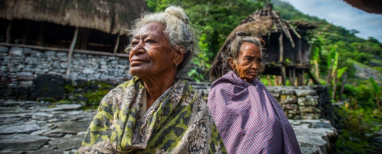 Timor-Leste: Human, People, Person, Cloak, Clothing, Poncho, Flora, Forest, Land, Nature, Outdoors, Plant, Tree, Vegetation, Rainforest, Face, Portrait, Conifer, Leisure Activities, Jungle, Moss, Wilderness, Pine, Female, Path, Yew, Grove, Landscape, Scenery