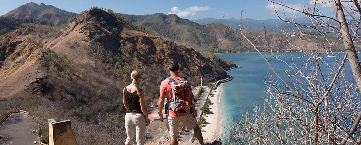 Timor-Leste: Human, People, Person, Hiking, Leisure Activities, Outdoors, Backpack, Bag, Path, Trail, Cliff, Crest, Mountain, Mountain Range, Nature, Dirt Road, Gravel, Road, Wilderness