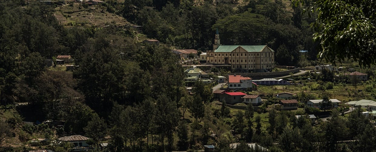 Timor-Leste: Architecture, Building, Housing, Monastery, City, Town, Urban, Aerial View, Landscape, Nature, Outdoors, Scenery, Flora, Forest, Land, Plant, Rainforest, Tree, Vegetation, Bush, Conifer, Spruce, Countryside, Rural, House, Villa, Jungle, Mansion, Harbor, Port, Waterfront