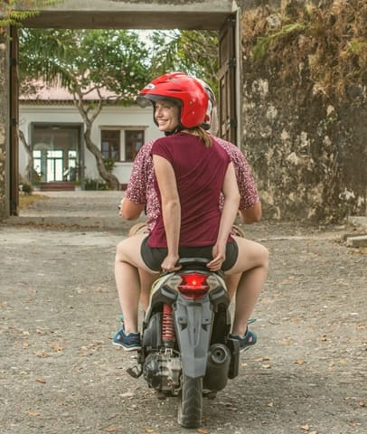 Timor-Leste: Human, People, Person, Scooter, Transportation, Vehicle, Bicycle, Bike, Cyclist, Sport, Sports, Female, Path, Trail, Tricycle